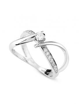Double contrarié solitaire ring in 18kt white gold with diamonds | Gioiello Italiano