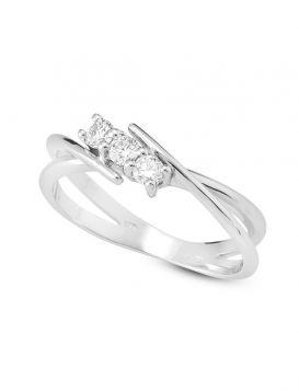 18kt white gold trilogy contrarié ring with diamonds | Gioiello Italiano