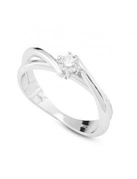 18kt white gold solitaire ring with 0.25ct diamond | Gioiello Italiano
