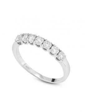 18kt white gold ring with seven diamonds | Gioiello Italiano