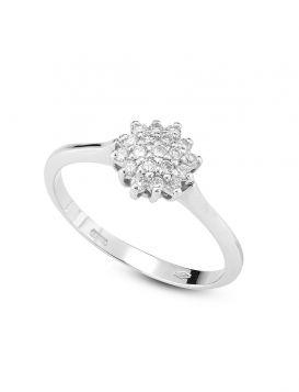 18kt white gold hexagon ring with diamonds | Gioiello Italiano