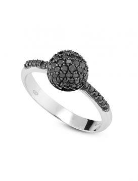 18kt white gold sphere ring with black diamonds | Gioiello Italiano
