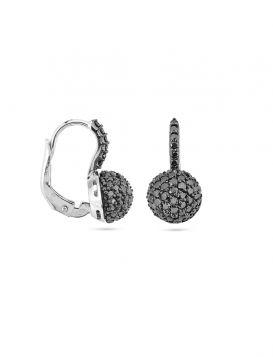 18kt white gold ball earrings with black diamonds | Gioiello Italiano