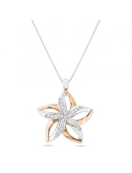 Star necklace in 18kt white and rose gold with 0.20ct diamonds | Gioiello Italiano