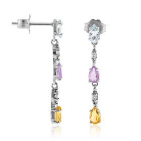 Silver pendant earrings with natural stones | Gioiello Italiano