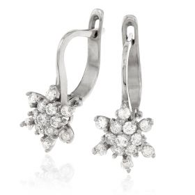 White gold star-shaped earrings with diamonds | Gioiello Italiano