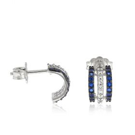 White gold earrings with blue and white zircons