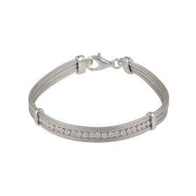 Silver mesh bracelet with cubic zirconia