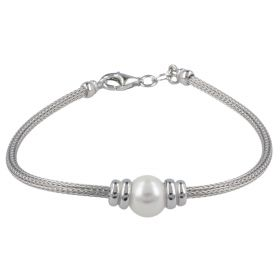 Silver mesh bracelet with pearl