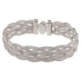 Silver mesh braided bracelet
