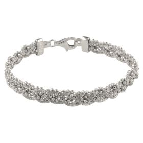 Braided silver mesh bracelet with beads