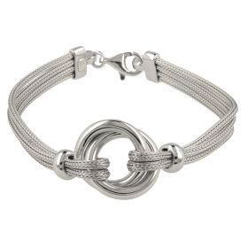 Silver mesh double ring bracelet | Gioiello Italiano