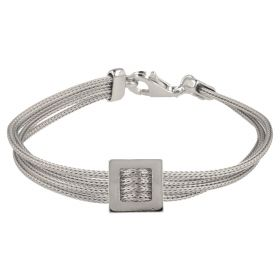 Silver mesh bracelet with square buckle