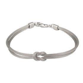 Bracciale in argento a rete con nodo
