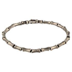 Antiqued bamboo silver bracelet