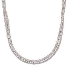 Silver mesh necklace with cubic zirconia