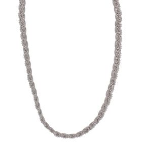 Silver mesh braided necklace with beads