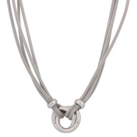 Silver mesh double ring necklace