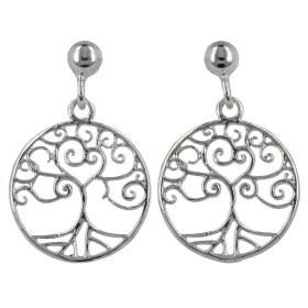 """Tree of Life"" rounded silver earrings"