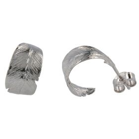 """Feather"" hoop silver earrings"