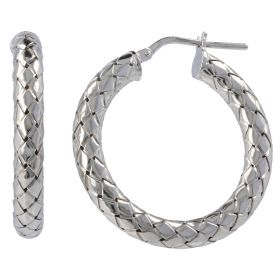 Interlaced silver hoop earrings | Gioiello Italiano