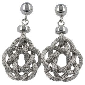 Silver mesh pendant earrings