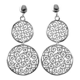 Earrings with two pendant circles in sterling silver | Gioiello Italiano