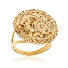 Round yellow lace gold ring