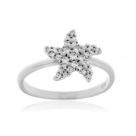 Star-shaped silver ring with white zircons
