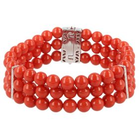 Bracelet in red coral, 18kt white gold and diamonds