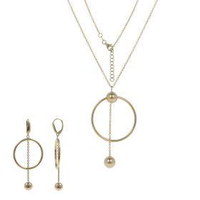14kt yellow gold hoop pendant set | Gioiello Italiano