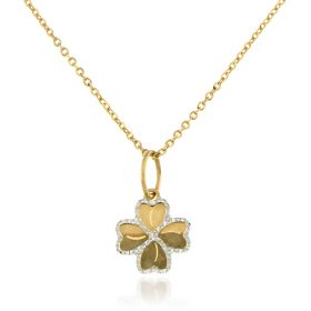 Four-leaved clover gold necklace