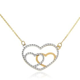"Yellow and white gold ""Three Hearts"" necklace"