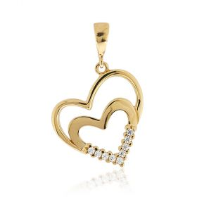 Yellow gold hearts pendant with cubic zirconia