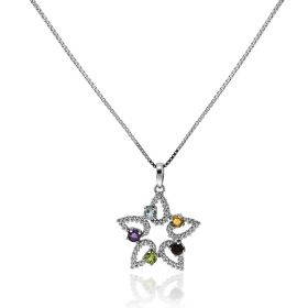 Star silver necklace with coloured natural stones