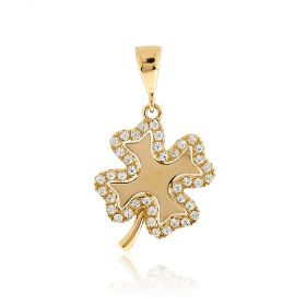 Four-leaf clover pendant 14kt yellow gold with zircons