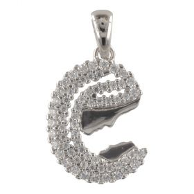 """White gold """"Mother"""" pendant with cubic zirconia"""