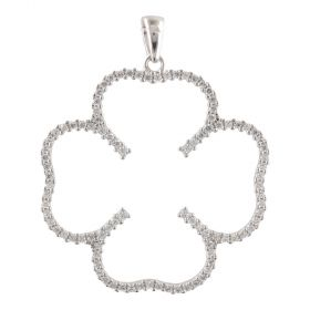 """White gold """"Four-leaf Clover"""" pendant with zircons"""