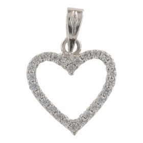 "White gold heart ""Double Face"" big pendant"
