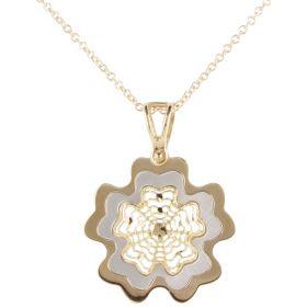 Collana in oro giallo e bianco 18kt con pendente a fiore