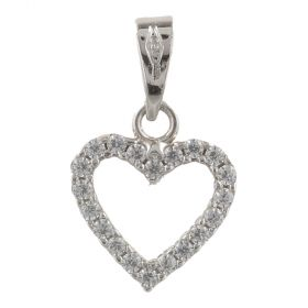 "White gold heart ""Double Face"" small pendant"