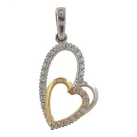 "White and yellow ""Two Hearts"" gold pendant"