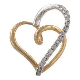 Yellow and white gold heart pendant with cubic zirconia | Gioiello Italiano