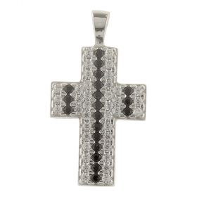 White gold cross pendant with white and black zircons