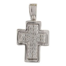 White gold cross pendant with white cubic zirconia pave