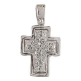 Pendente a croce in oro bianco con zirconi cubici bianchi