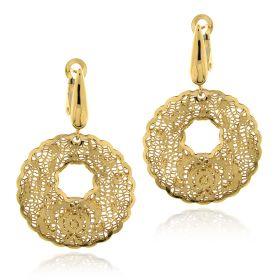 "Yellow gold ""Pizzo d'Oro"" pendant earrings"
