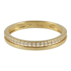 18kt yellow gold double strand ring with cubic zirconia | Gioiello Italiano