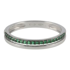 18kt white gold two-strand ring with coloured zircons | Gioiello Italiano