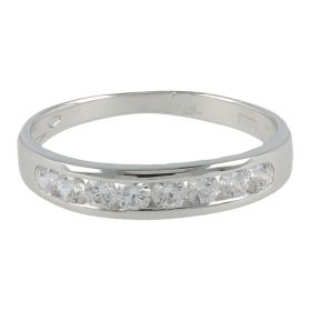 18kt white gold ring with eight cubic zircons | Gioiello Italiano